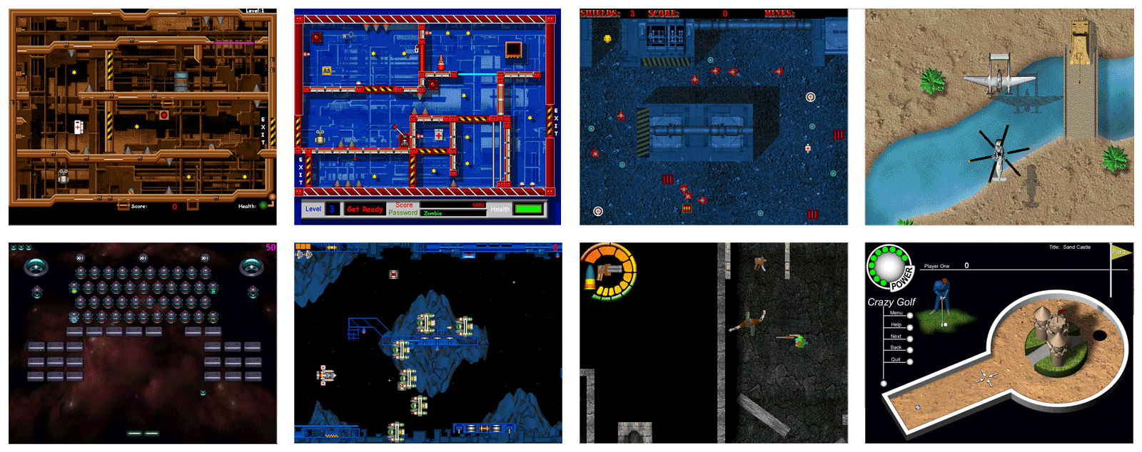 Screenshots of some of the games that my father and I made